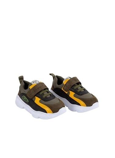 Kids A More Duncan Tek Cırtlı Paraşüt Kumaş Detaylı Deri Erkek Çocuk Sneaker  Haki